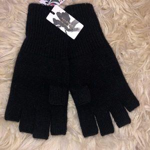 100% Cashmere Women's Fingerless Gloves, Black